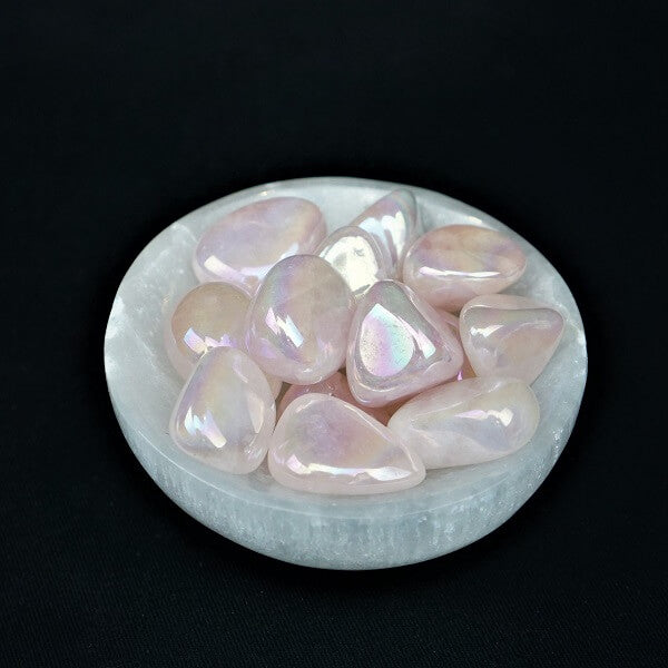 Rose Aura Quartz Crystal Tumbled Stone - heavenly-crystals-online