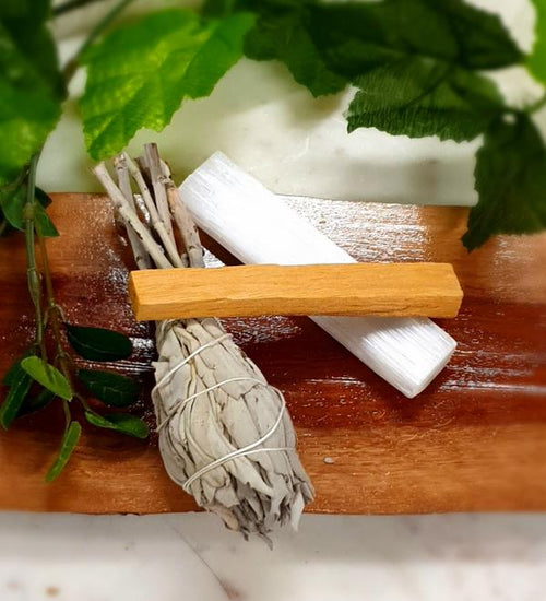 Cleansing Rituals Pack -  Selenite raw wand, 1 Palo santo, and 1pc pure White Sage