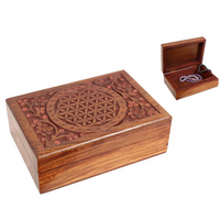 Wooden Trinket Box - Flower of Life - Heavenly Crystals Online