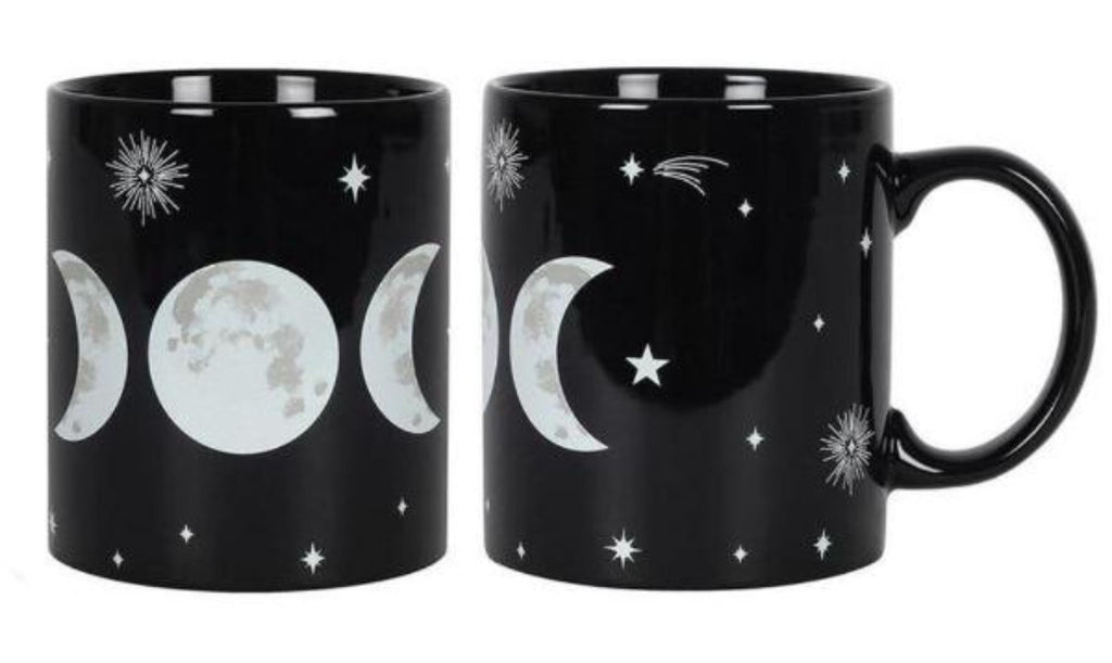 Triple Moon Goddess Black Mug in Gift Box - Heavenly Crystals Online