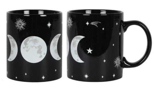 Triple Moon Goddess Black Mug in Gift Box