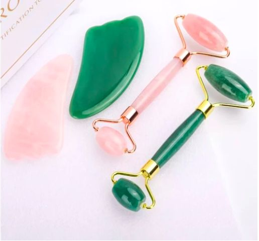 Green Aventurine Crystal Facial Massage Roller and Gua Sha in Gift Box