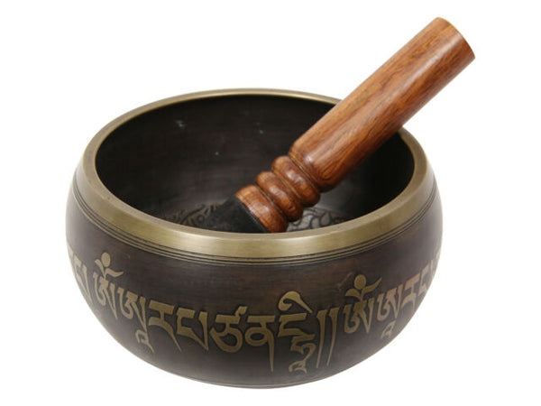 Antique Bronze Mantra Tibetan Singing Bowl with Prayer Motif  - 900 grams