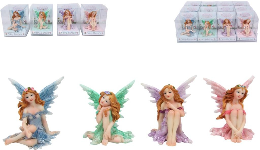 Sitting Fairy With Glitter - Blue - Heavenly Crystals Online
