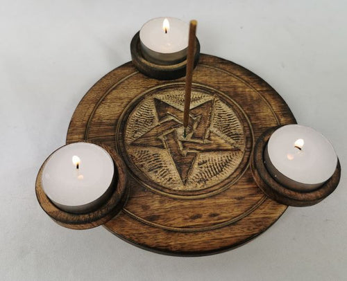 Round Triple Wooden Tealight/Incense Holder