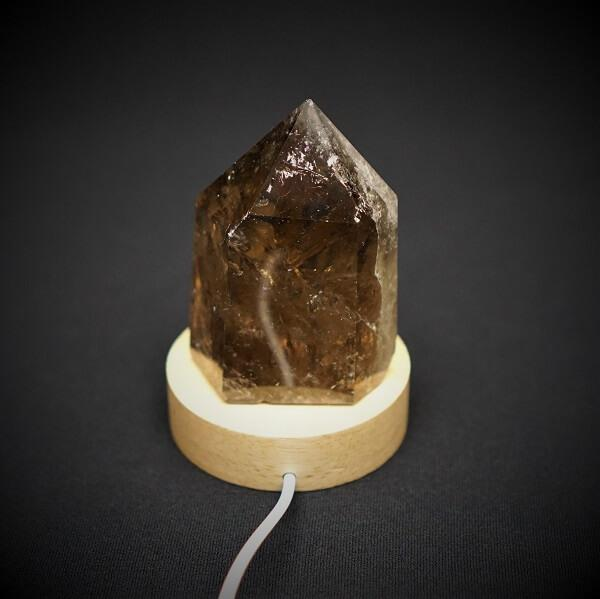 Wooden Base, LED White Light Stand for Crystal - 60 grams - Heavenly Crystals Online