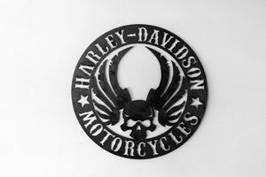 "Vintage Replica Harley ""Skull"" Wing sign"