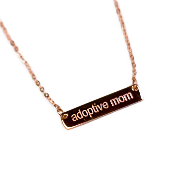 Adoptive Mom Rose Gold Bar Necklace