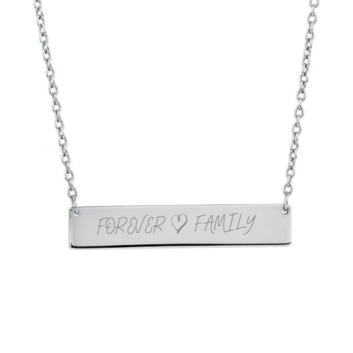 Forever Family Silver Bar Necklace