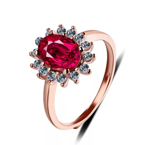 Women's Fashionable Ruby Flower Ring (Adjustable)
