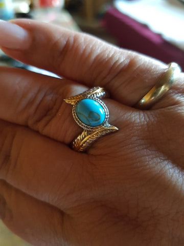 Image of Turquoise Feather Ring