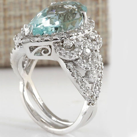 Women's Natural Aquamarine Ring (Heart-Shaped)