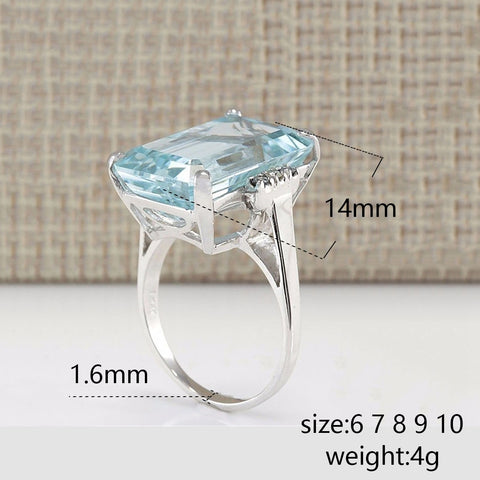 Image of Women's Natural Aquamarine Ring