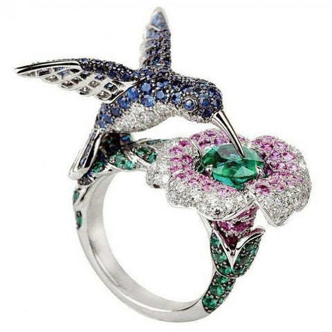 Women's Bird Flower Ring