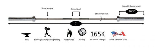 York 20kg Stainless Steel Elite Training Olympic Bar