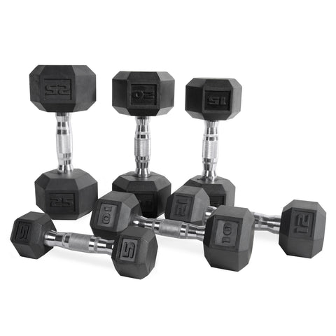 Rubber Coated Hex Dumbbell Set 5lb-120lb