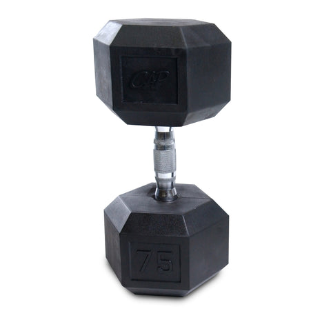 75lb Rubber Hex Dumbbell