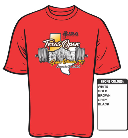 2020 USAPL Texas Open meet shirt