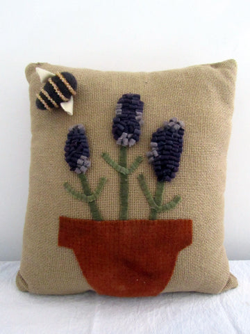Hand-Hooked Lavender & Bee Pillow