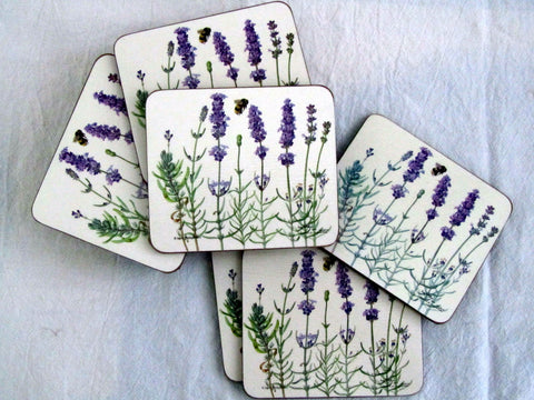 Set of Six Lavender-design Coasters