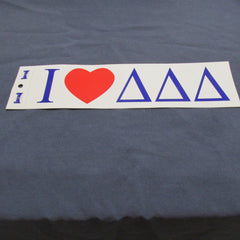 Delta Delta Delta Bumper Sticker (Tri Delt) DDD White Background