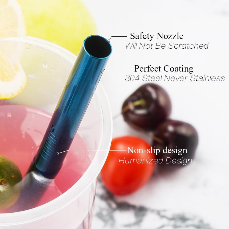 Colorful 304 Stainless Steel Reusable Straws Straight Bent Metal Drinking straw
