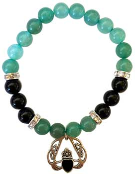 8mm Green Aventurine- Black Onyx With Heart