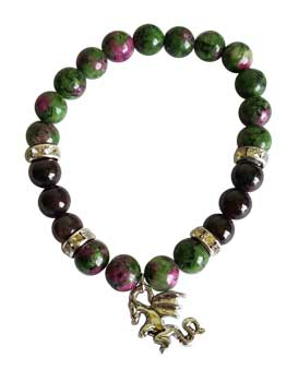 8mm Ruby Zoisite- Garnet With Dragon