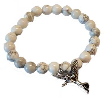 White Howlite Protection Angel Silver
