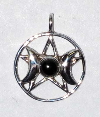 Triple Goddess Pentagram Black Onyx Sterling 11-16""
