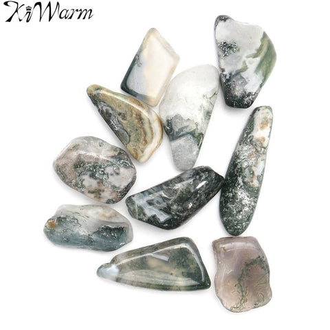 10Pcs Green Tree Agate Tumbled