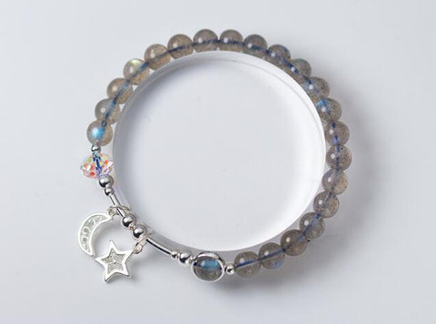 6MM Labradorite .925 Sterling Silver Moon &Star crystal Charms Bracelet