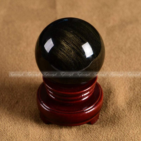 2 in Gold Sheen Obsidian Crystal Ball
