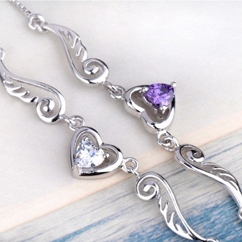 925 Silver Angels Wings of Love Heart Necklace