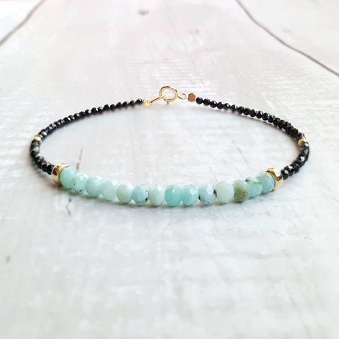 Larimar and Black Spinel Bracelet, .925 Sterling Silver Gold Plated