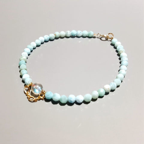 Larimar with Aurora Crystal Charm .925 Sterling Silver 18K Gold Plated Bracelet