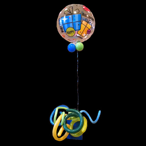 Bag with curly balloons and helium balloon