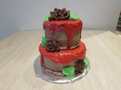 Mini Tiered Cake with Red Ganache