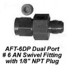 "DUAL PORT #6 AN SWIVEL FITTING WITH 1/8"" NPT PLUG CWW-CPT046"
