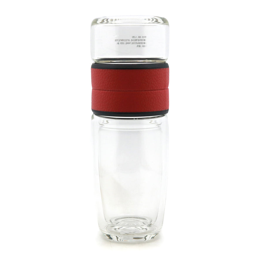 Double Wall Glass Tea Infuser Brewing Cup (300ml) - Red