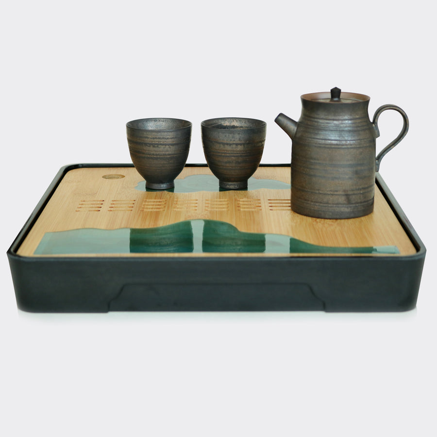 Square Green Jade Bamboo Tea Tray (Black)