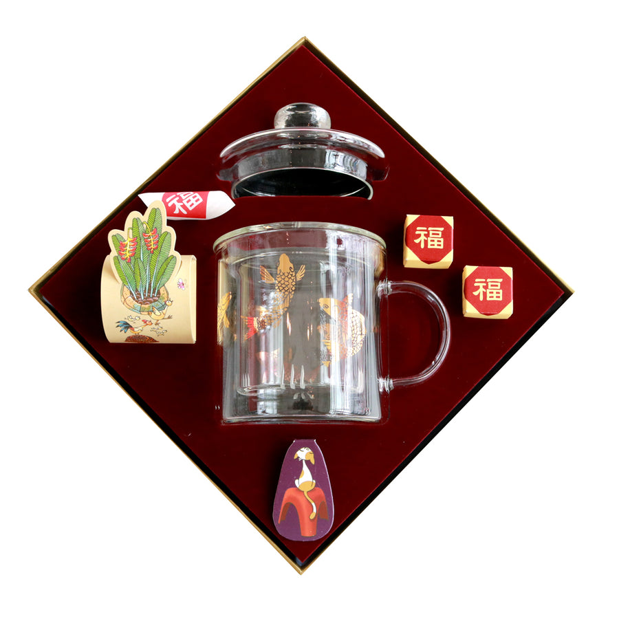 Full of Wealth Glass Strainer Mug Tea Gift (Hamper Box)