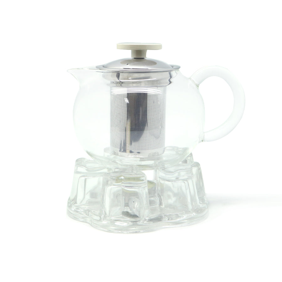 Glass Strainer Teapot with Teapot Mat (800cc)+Transparent Heart-Shaped Candle Warmer Stand