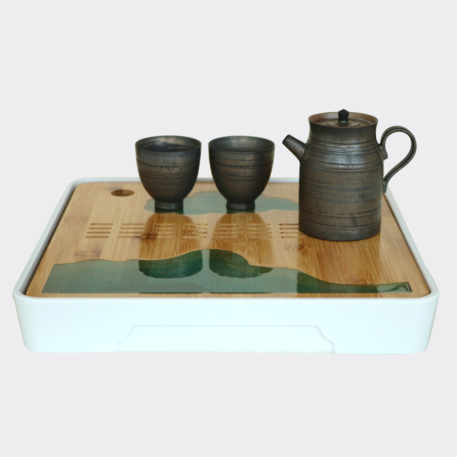 Square Green Jade Bamboo Tea Tray (White)