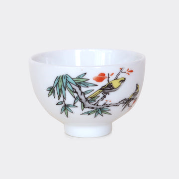 Golden Oriole Porcelain Tea Cup - Tall (80ml)