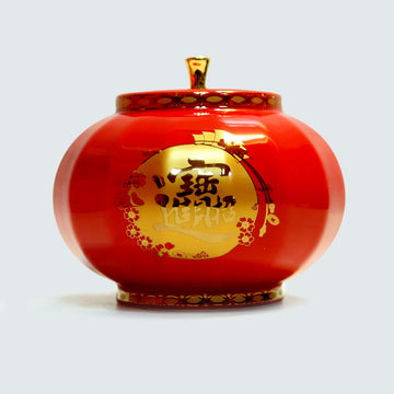 Red Lantern Porcelain Tea Canister