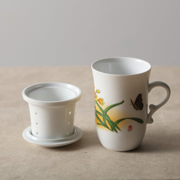 Porcelain Strainer Mug (300ml) - Narcissus Butterfly