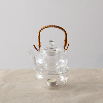 Glass Warmer Teapot Set - Rattan (550cc)