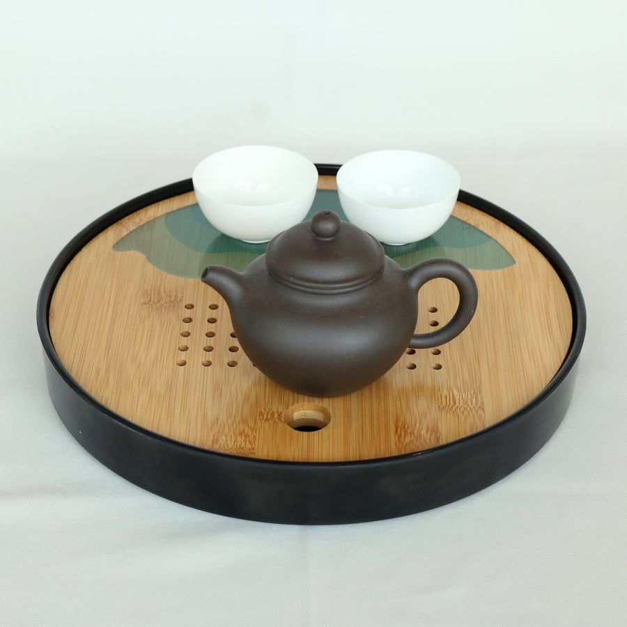 Round Green Jade Bamboo Tea Tray (Black)