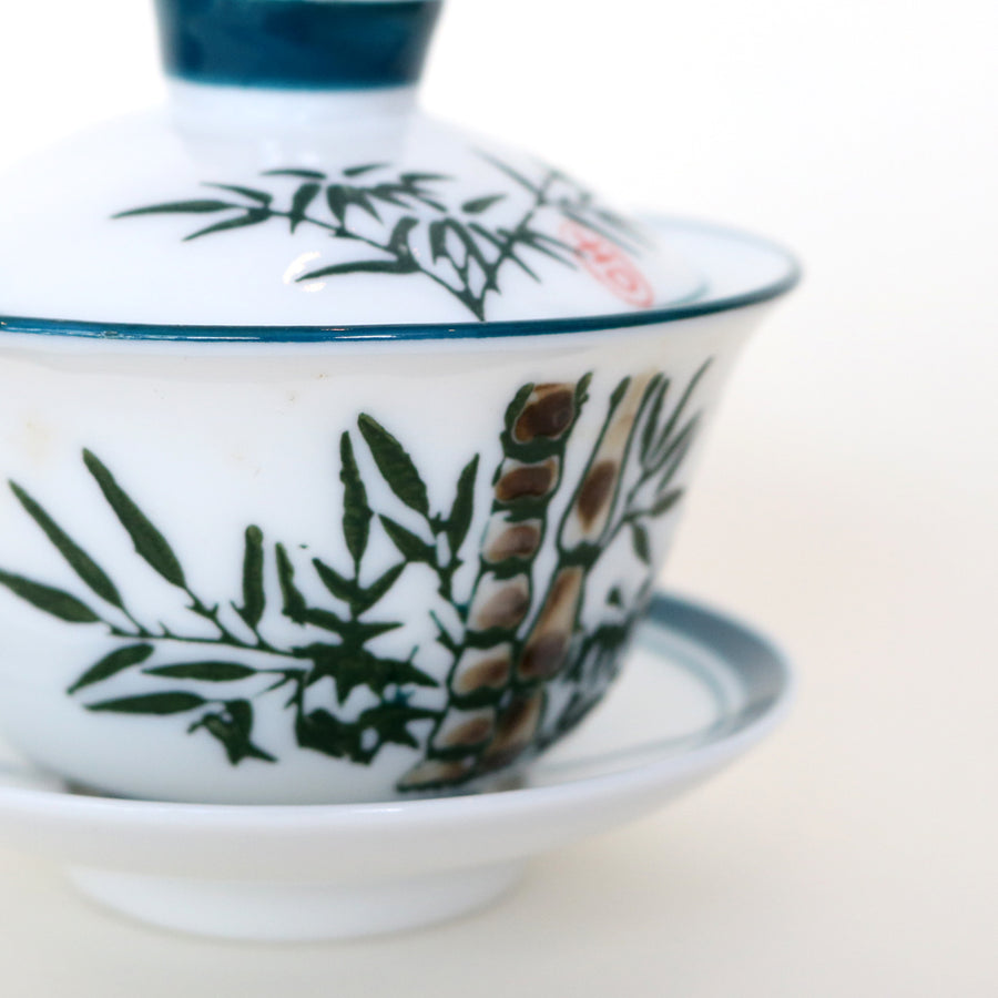 Green Bamboo Porcelain Lidden Cup (120ml)